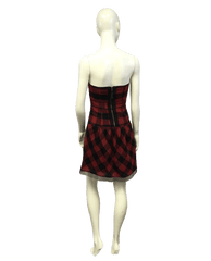 Red Strapless Plaid Dress Size 4 (SKU 000064)