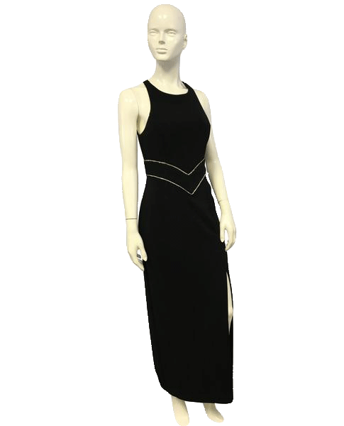 Dave & Johnny Black Long Formal Gown Embellished Size 8 SKU 000067