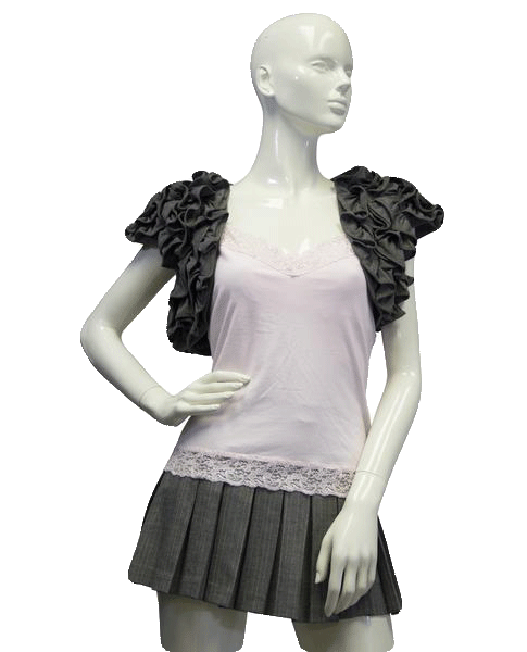 Mad 90's Cropped Top Gray Ruffles Size Medium SKU 000023