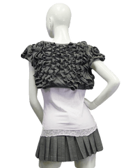 Gray Ruffled Cropped Top Size Medium (SKU 000023)