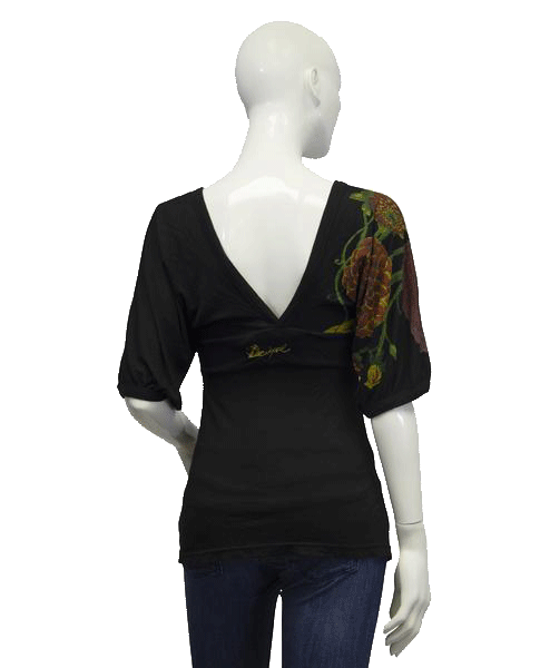 Desigual Floral Print Deep V Neck Top Size Small (SKU 000047)