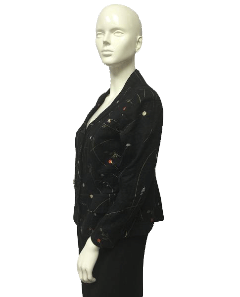 Blazer Black Embroidered with Flowers (SKU 000049)