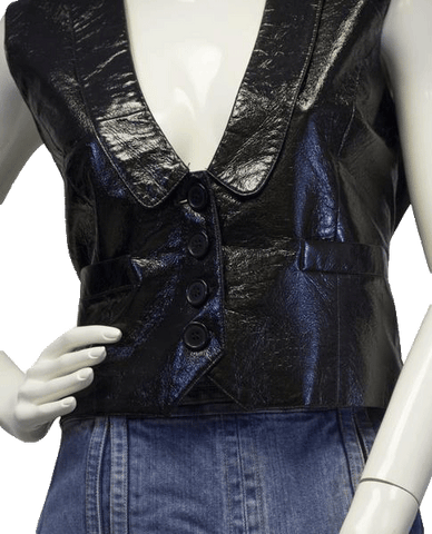 Super Woman Black Vegan Patent Leather Vest Sz PL (SKU 000018)