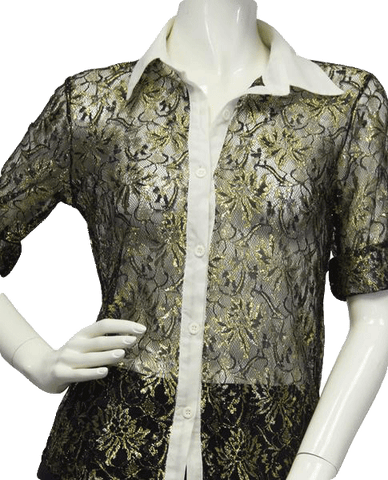 Gold Lace Mesh Top Sz S (SKU 000011)