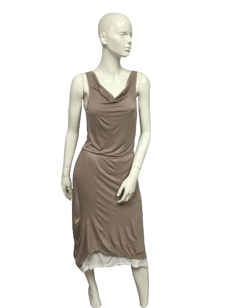 Cynthia Rowley 80's Double Layer Dress Tan & Cream Size Medium SKU 000076