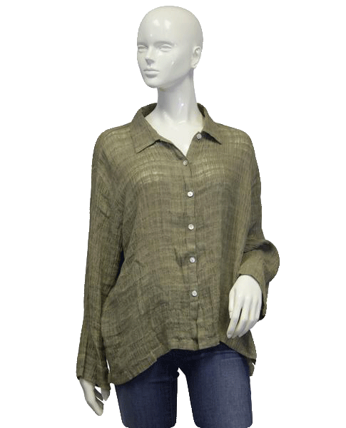 Chicos Fall For You Green Top Sz 3 (SKU 000069)