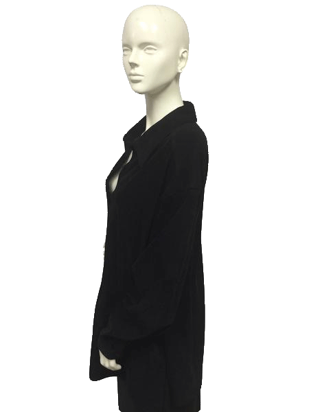Black Faux Suede Button Down Shirt Sz 24 (SKU 000022)