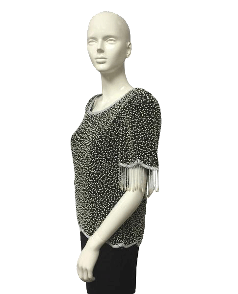 Clutching My Pearls Beaded Embellished Top Sz M (SKU 000022)