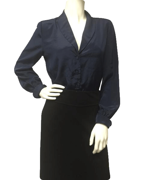 Saks Fifth Blassport Ladies Navy Blouse size 10 (SKU 000005)
