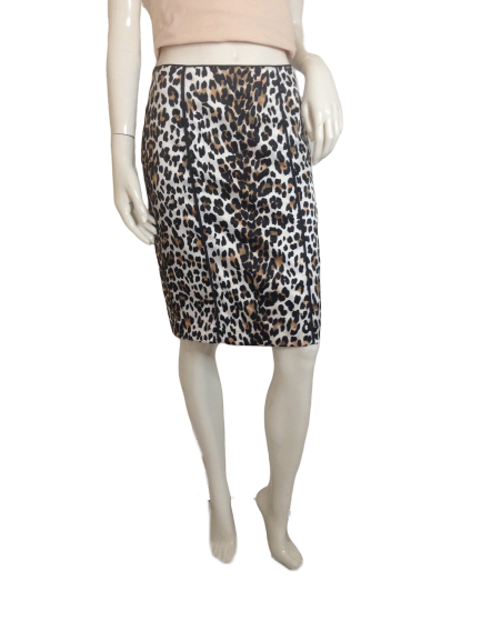 White House Black Market Skirt Leopard Print Size 4 (SKU 000251-16)