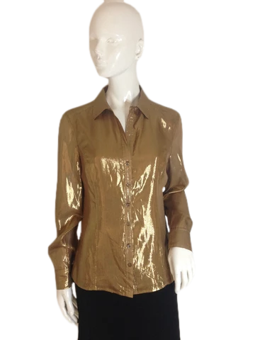 Jones New York Collection Button Down Shirt Gold Size 6 (SKU 000251-18)