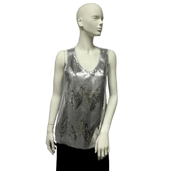 BB Dakota Top Silver Sequins Size S SKU 000096