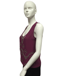 Sweet Rain Top Mauve with Silver Beads Size M NWOT SKU 000096