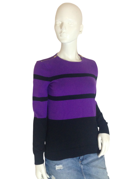 Ralph Lauren (GR) Long Sleeve Sweater Purple and Black Size M SKU 000256-5