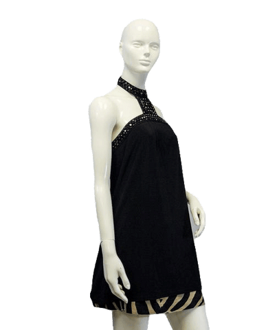 Up Next Black Beaded and Embellished Long Halter Top Size18 (SKU 000024)