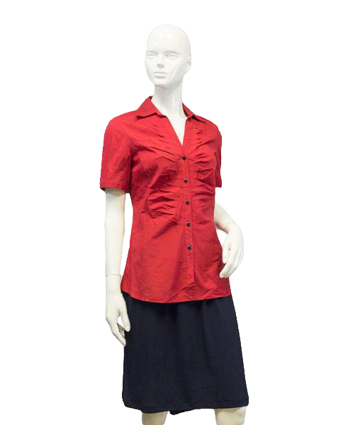 Lafayette 148 Red Short Sleeve Top Size 4 SKU 000087