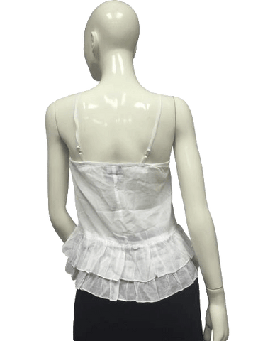 Wet Seal White Ruffled Bottom Top with Spaghetti Straps (SKU 000095)