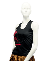 Las Lolas Planet Black Racerback Top Size Medium (SKU 000023)