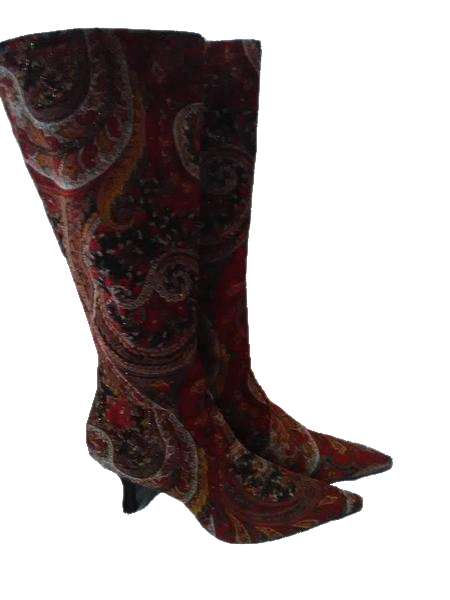 Diva Zip up Paisley Jacquard Embellished Boots SKU 000098