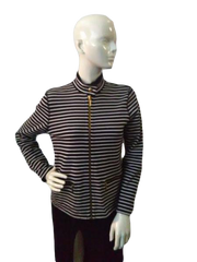 Ralph Lauren Petite Black And White Horizontal Stripe Jacket Size Medium (SKU000041)