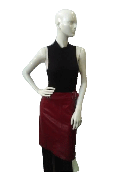 Eva Scacchi Red Leather Skirt Size 44 (SKU000039)
