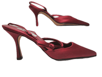 "SHOES Red Raspberry Satin Slide 4"" Elastic Back Heels Size 6 SKU 000146"