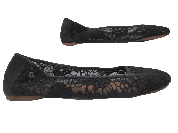 Shoes Lucky Black Lace Flats Size 10 (SKU 000131)
