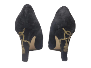 Shoes Black Suede Pumps Size 10-1/2  (SKU 000131)
