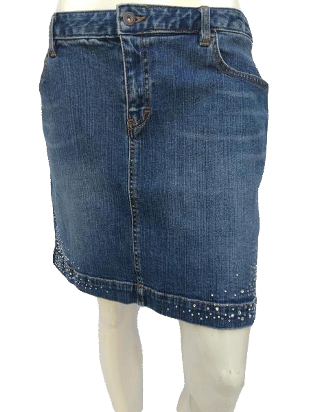 Tommy Hilfiger Jean Skirt With Embellishments Size 12 (SKU 000180)