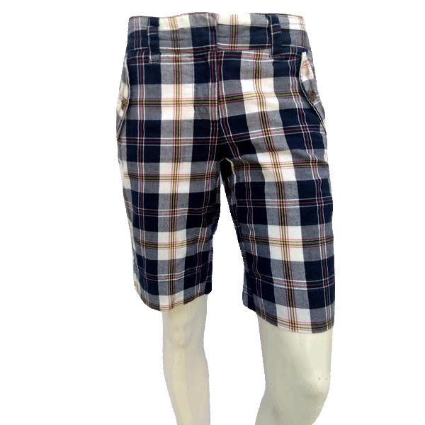 J. Crew Blue Red White Yellow Plaid Shorts Size 0 (SKU 000180)