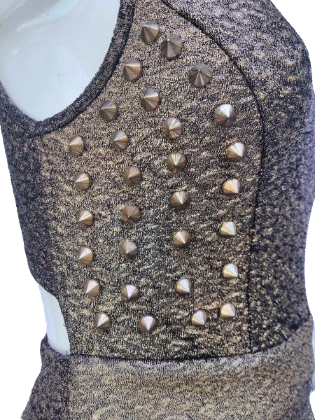 A'gaci Gold Sleeveless Studded U Neck Dress Size Small SKU 000180