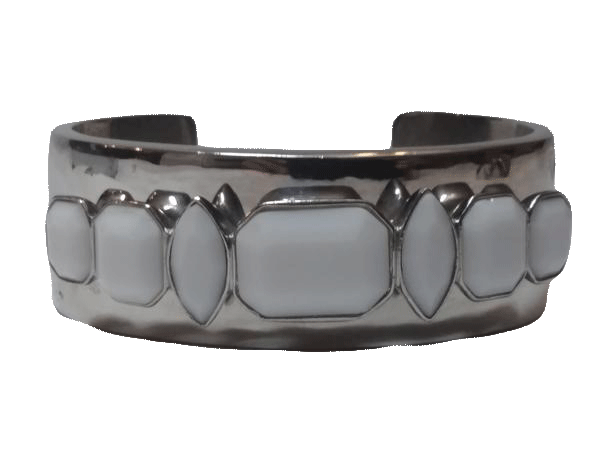 Givenchy Cuff Bracelet Silver with White Jade (SKU 000163-5)