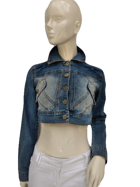 Paris Angel Denim Blue Jean Cropped Jacket Size S (SKU 000156)