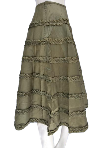 Zelie Silk Olive Green Circle Skirt with Ruffles Size 2 (SKU 00133)