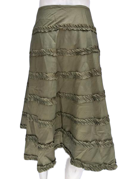 Zelie Silk Olive Green Circle Skirt with Ruffles Size 2 NWT SKU 000133