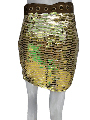 Cynthia Steffe Gold Sequin Skirt with Sizzle Size 4 SKU 000133