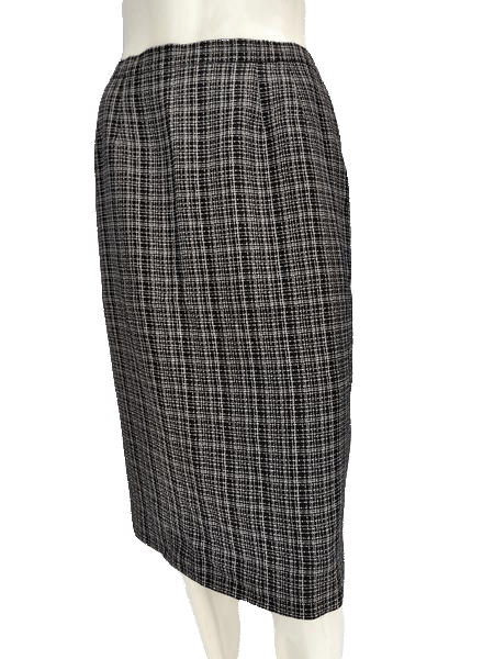 Kasper Black and White Check Just Below the Knee Length A-Line Skirt Size 6 SKU 000133