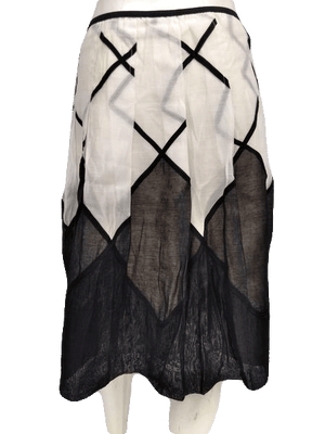 Nick & Zoe Black & White Just Below the Knee Length Skirt Size 6 SKU 00133