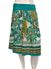 Ann Taylor Turquoise Floral Knee Length Circle Skirt Size 12 (SKU 000133)
