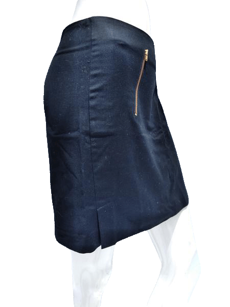 Banana Republic Size 12 Black Mini Skirt with gold zippers  (SKU 000133)