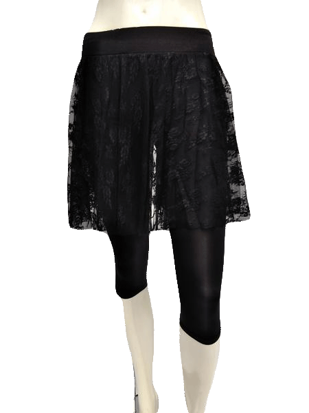 Guess by Marciano Black Nylon Lace Skirt with Spandex Capris Size XS (SKU 000133)