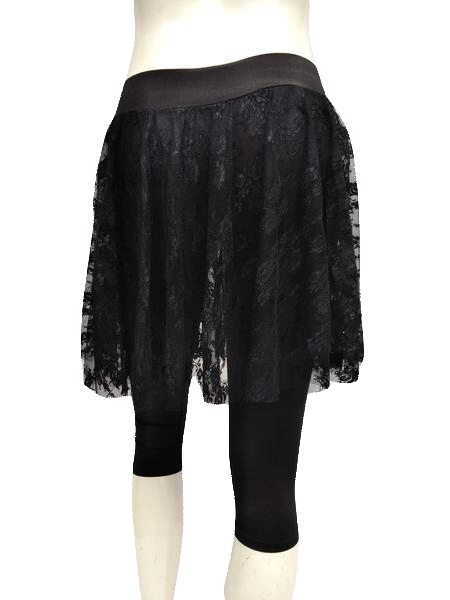 Guess by Marciano Black Nylon Lace Skirt with Spandex Capris Size XS SKU 000133