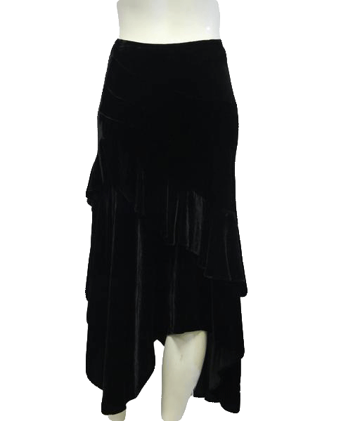 Double D Ranch Skirt Black Velvet Tier Ruffle Size 2 SKU 000026