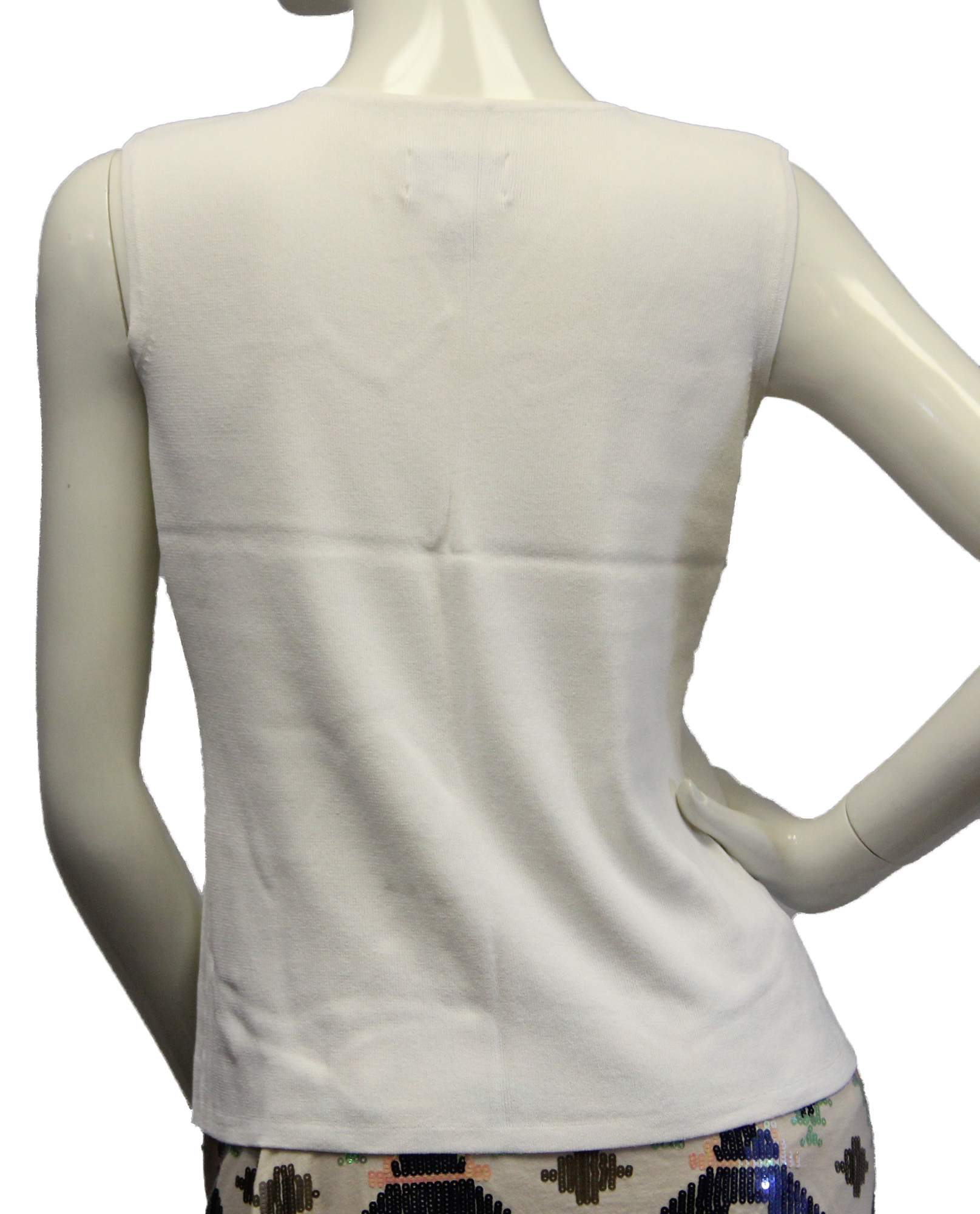 Chico's Innocence White Sweater Tank Top Size 1 (SKU 000069) - Designers On A Dime - 3