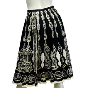 Mix Nouveau Boho Skirt Black & White Embellished Sz M SKU 000026