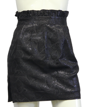Arden B Black Leaf Pattern Ruffled Skirt Sz 0 (SKU 000026) - Designers On A Dime - 1