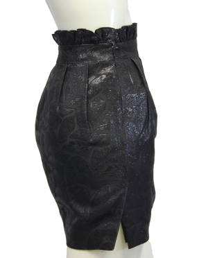 Arden B Black Leaf Pattern Ruffled Skirt Sz 0 (SKU 000026) - Designers On A Dime - 3