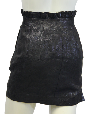 Arden B Black Leaf Pattern Ruffled Skirt Sz 0 (SKU 000026) - Designers On A Dime - 4