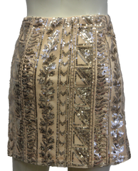 Light Peach Aztec Print Sequin Skirt (SKU 000004) - Designers On A Dime - 3