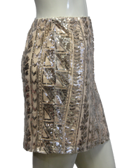 Light Peach Aztec Print Sequin Skirt (SKU 000004) - Designers On A Dime - 2
